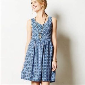 Maeve Tribal Print Fit and Flare Dress 8